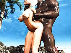 Outdoor hot sex! Big black cock fucks a sexy blonde hard