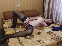 Anna masturbating in the cheap hotel room