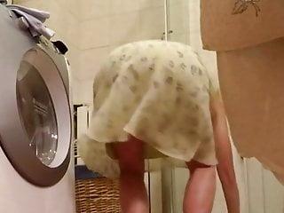 Undressing in toilet
