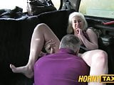 HornyTaxi Blonde glamour model sucks big cock