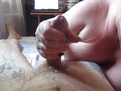 mother-in-law plays with a member and gets a portion of sperm