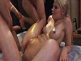 Blonde girl loves group sex