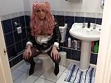 Peeing in my plastic panties - PVC Maid