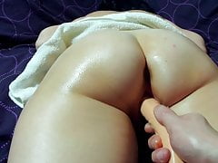 Wet pussy gets masseur cock.