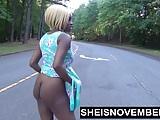 Risky Middle Of Street Blowjob & Big Ass Ebony Booty Out POV