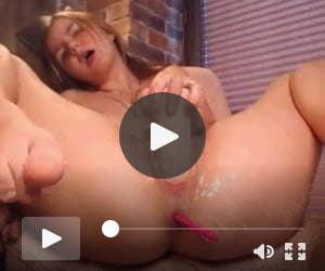 Horny girl masturbating with big dildo