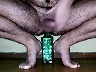 Delicious furry body put a bottle right in hole