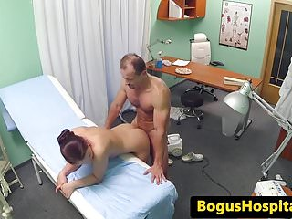 Fucks cleaner before nurse joins...