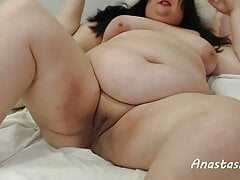 Beautiful toast with shaved big pussy and big tummy