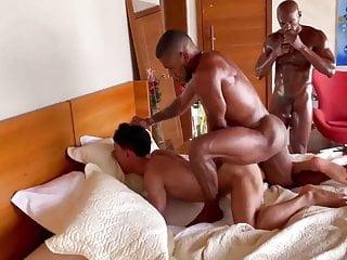 Two Big Black Cocks Fucking Latin Boy Pt.1