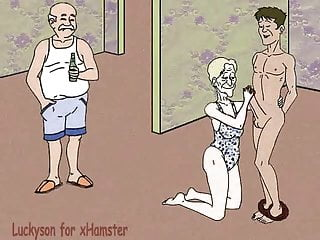 Grandma, grandson and cuckold grandpa! Porn cartoon