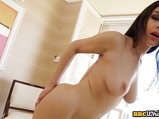 Booty babe enjoys blowing during interracial anal sex