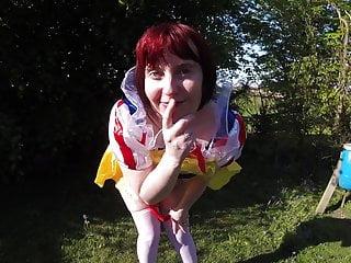 Snow White cosplay flashing Outdoors