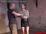 Tied up bdsm sub toyed with vibrator by dom