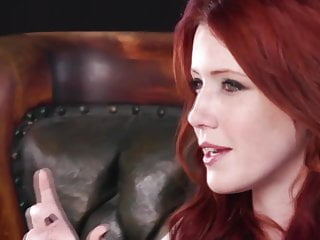 Beautiful redhead uses toy...
