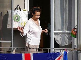 Italian Brunette Milf video: Mature lady in pajamas on the balcony II