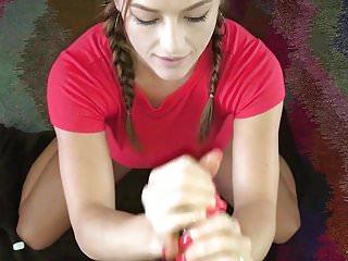 Handjob and Facial with lengthy purple nails