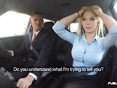 English babe cowgirls driving instructor in public