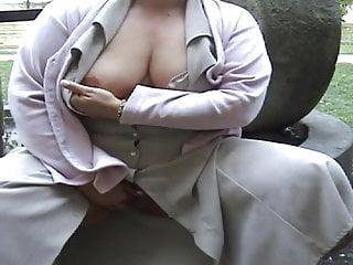 Fat exhibitionist expose public...