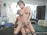 Busty amateur Tera riding on stiff cock