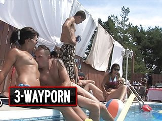 Cool INSANELY Orgy - 3-WayPorn Party  Pool