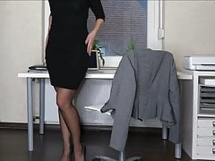 MILF Kat in secretary stockings and heels