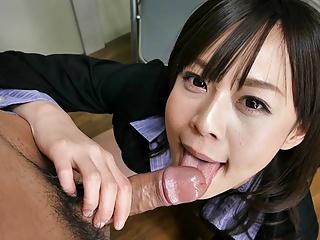 JAV secretary, Asuka Kyono slurps cock, uncensored