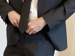 DADDY SUIT AND TIE SHOWING OFF HIS MASSIVE COCK!