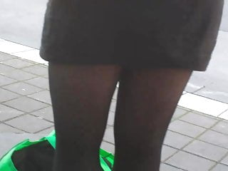 Candid legs in black tights