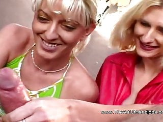 Double the blonde handjob 3some session of couple...