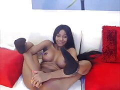Sexy Ebony Solo Dildo Cream pt2