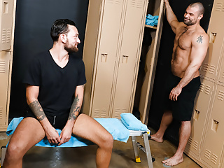 Hot gay session at the locker room...