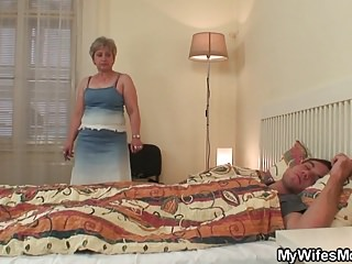 Wifes old mother jumps on my cock!