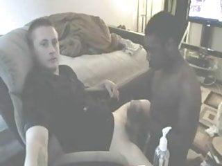 Sucks off huge dick white boy...