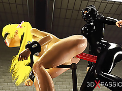 Woman in black latex outfit plays with cuffed Japanese girl