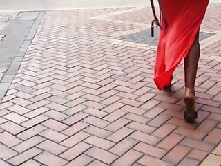 Candid Juicy British Black Booty in Red Dress