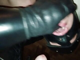 Leather Master facefucking and deepthroating His slave