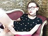 Tgirl with sensual red lips cums