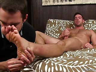Hunk jerks off while having sniffed and licked...