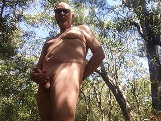 Naked and erect australian bush...