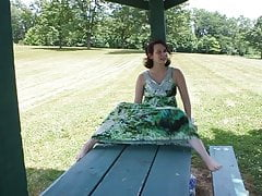 Hayley Gets Caught Masturbating on Picnic Table