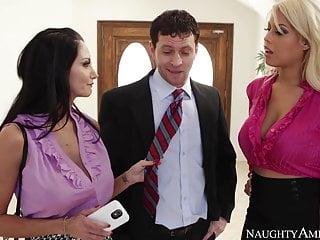 Blonde Blowjob Brunette video: naughty america Bridgette B. and Ava Addams fucking