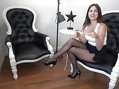 Black pantyhose and heels office style