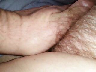 close up of her hairy pussy, me kissing her bush
