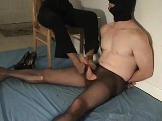 Man in pantyhose and mature ebony footjob...