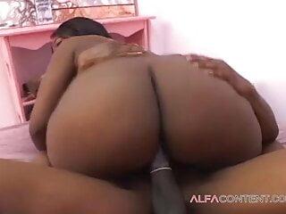Big fat ebony ass gets a face full of jizz