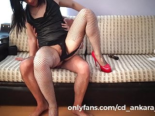 Turkish sissy trans getting fucked hard on couch...