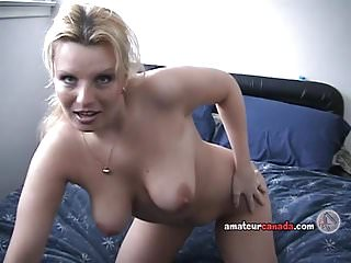 Blonde freckled wife fingers chubby pussy in homemade porn