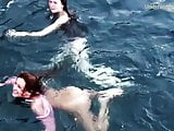 Girls on Tenerife swimming naked
