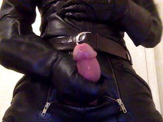 Full leather jerk-off close-up